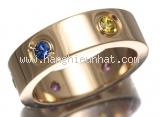 S Nhẫn Cartier K18PG kim cương đá saphire size 50