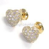 Bông tai Cartier K18YG kim cương 0.70 ct trái tim