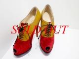 S Boot Christian Louboutin da lộn đỏ vàng size 36