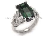 Nhẫn kim cương đá tourmaline