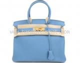 New Túi Hermes birkin 30 blue paradise khóa vàng