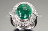 Nhẫn Emerald kim cương đá xanh size 11.5