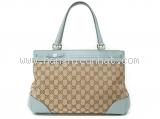 Túi xách nữ Gucci Mayfair Tote 257.063 màu be viền da xanh