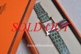 MS5021 Đồng hồ Hermes chữ H dây cá sấu xanh