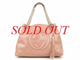 Túi xách Gucci da bóng kem hồng 308982