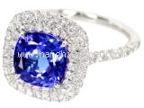 S Nhẫn kim cương Tiffany & Co 0.45ct ngọc tanzanite 1.5ct