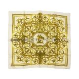 MS5346 khăn hermes lụa vàng trắng LES TUILERIES