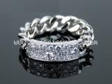 S Nhẫn Christian Dior K18WG kim cương size 56