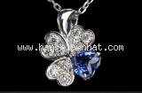 S Vòng cổ Mikimoto K18WG kim cương đá saphire