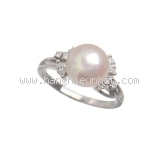 Nhẫn Mikimoto Pt950 kim cương ngọc trai