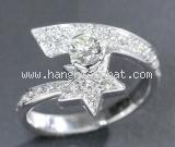 Nhẫn Chanel vàng trắng K18WG kim cương size 49