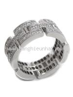 SA Nhẫn Cartier vàng trắng K18WG kim cương size 55