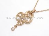 S Vòng cổ Hermes K18PG kim cương