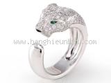 Nhẫn Cartier 750WG kim cương con báo size 54