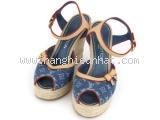 SA Sandal cao gót Louis Vuitton màu xanh size 37