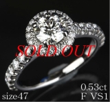 Nhẫn Cartier Pt950 kim cương size 47