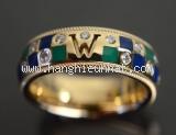 Nhẫn Mikimoto vàng K18YG kim cương size 14