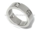 Nhẫn Cartier love ring 3P vàng trắng bản to