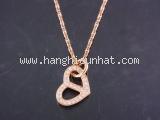S Vòng cổ Hermes trái tim K18PG kim cương