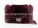 Túi xách Chanel lông màu đỏ đậm