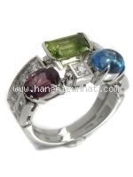 SA Nhẫn Bvlgari vàng K18WG kim cương size 14