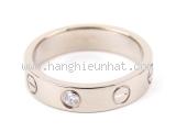 S Nhẫn Cartier vàng trắng K18WG kim cương size 47