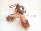 Sandal cao gót Gucci màu nâu size 36