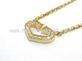 SA Vòng cổ Cartier trái tim K18YG kim cương
