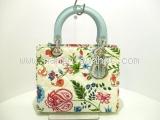 Túi xách Christian Dior trắng xanh hoa lá