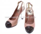 S Giày cao gót Chanel màu be hồng size 36