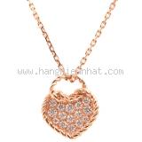 SA Vòng Cổ Cartier vàng hồng 750PG kim cương trái tim