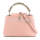 SA Túi xách Louis Vuitton Capucines PM màu hồng da trăn