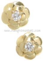 Bông tai Chanel K18YG Camellia 1 viên kim cương
