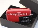 MS32021C02 Ví Chanel màu đỏ zippy logo CC