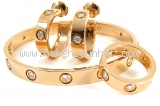 Limited Bộ vòng tay, bông tai và nhẫn Cartier Love K18PG, kim cương
