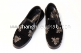 MSaS Giày nam Dolce&Gabbana đen nhung thêu ong size 6
