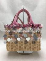 Túi Prada wicker tre đan hồng kim sa