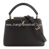 New Túi xách Louis Vuitton Capucines MM da bê màu đen