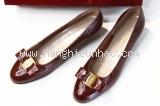 MS112020 Giày Salvatore Ferragamo nơ vara màu da bò sần 6D