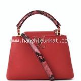 Túi xách nữ Louis Vuitton capucines BB đỏ quai da trăn