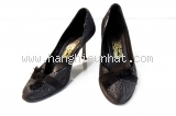 Giày Salvatore Ferragamo vải nơ đen xám