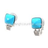 Bông tai Mikimoto kim cương, ngọc lam dạng kẹp