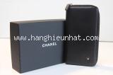 MS Ví Chanel zippy đen bông trà góc